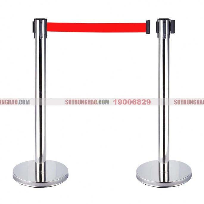 Cột chắn inox trắng dây đỏ 1.8m