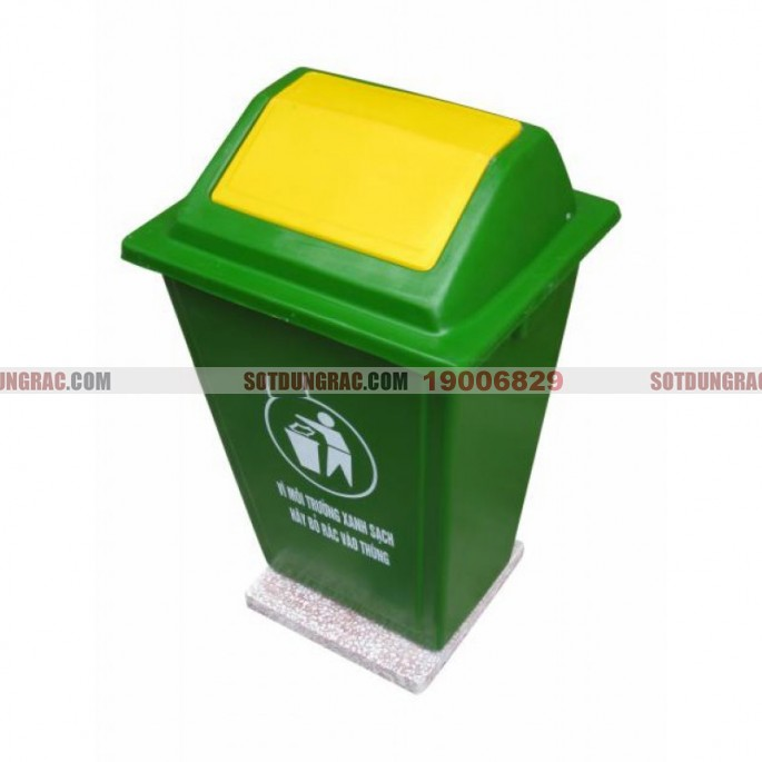 Thùng rác nhựa composite 60l đế đá