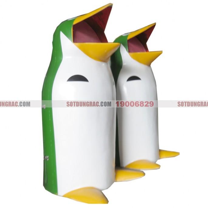 thùng rác chim cánh cụt màu xanh