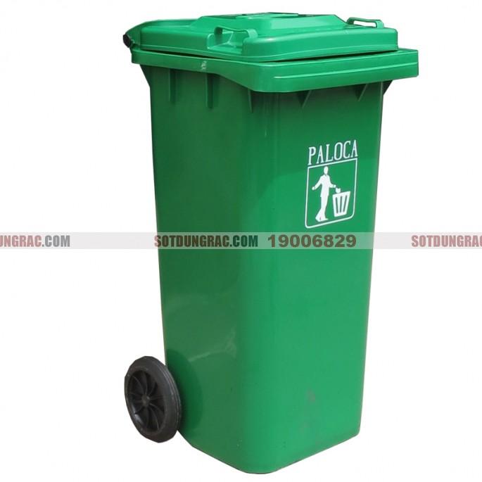 Thùng đựng rác nhựa hdpe 120l xanh lá