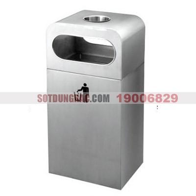 Thùng rác inox 304 có khay gạt tàn thuốc lá loại lớn