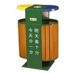 Thùng rác gỗ ngoài trời 2 ngăn phân loại rác thải