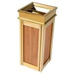 Thùng rác inox mạ vàng bọc da giả gỗ