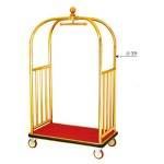 Xe đẩy hành lý nhà khách bằng inox mạ vàng cao cấp