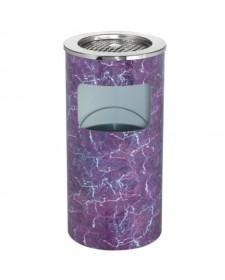 Thùng rác tròn bọc giấy nilon in hoa có gạt tàn thuốc lá