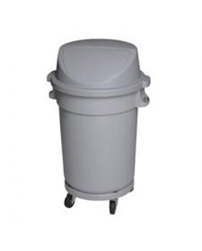 Thùng rác nhựa tròn nắp đẩy có bánh xe