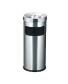 Thùng rác inox tròn có khay gạt tàn thuốc