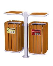 Thùng rác đôi 2 ngăn bằng gỗ trong công viên