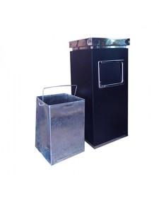 Thùng rác thép phun sơn tĩnh điện có khay gạt tàn thuốc lá