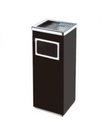 Thùng rác inox vuông có gạt tàn thuốc lá