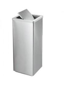 Thùng đựng rác inox trắng vuông nắp bập bênh