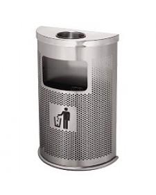 Thùng rác inox bán nguyệt có gạt tàn thuốc lá