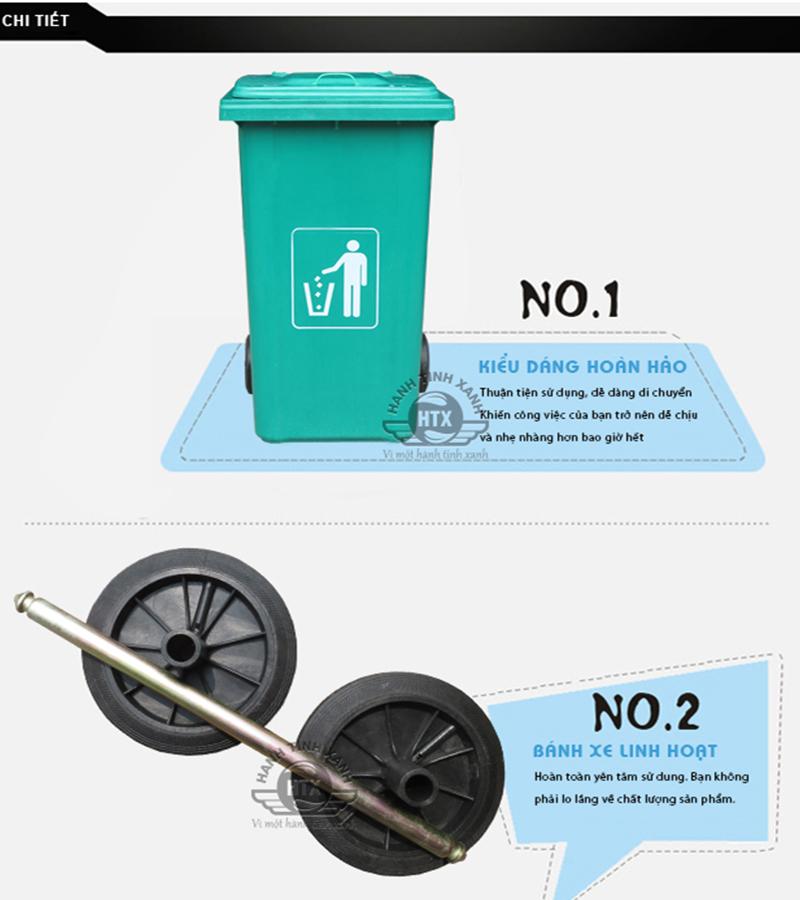 Thùng rác nhựa composite 240 lít có bánh xe